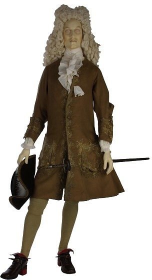 Brown Worsted Wool Dress Coat, English, 1700-1720.