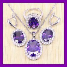 Elegante plata esterlina 925 púrpura Amethyst de la joyería Set para mujeres anillos cristalinos / los pendientes / collar envío gratis 0075(China (Mainland))