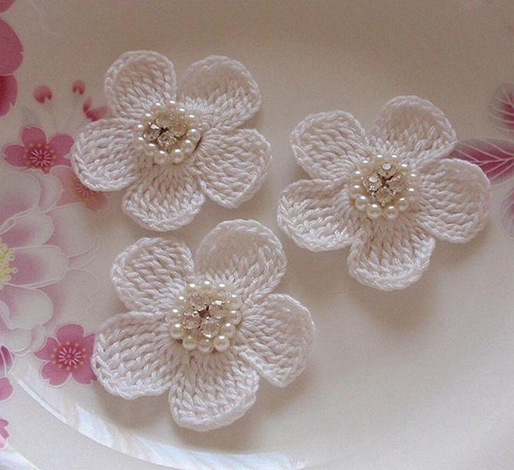 6 flores de ganchillo con Perla de diamante de imitación 2 | Etsy