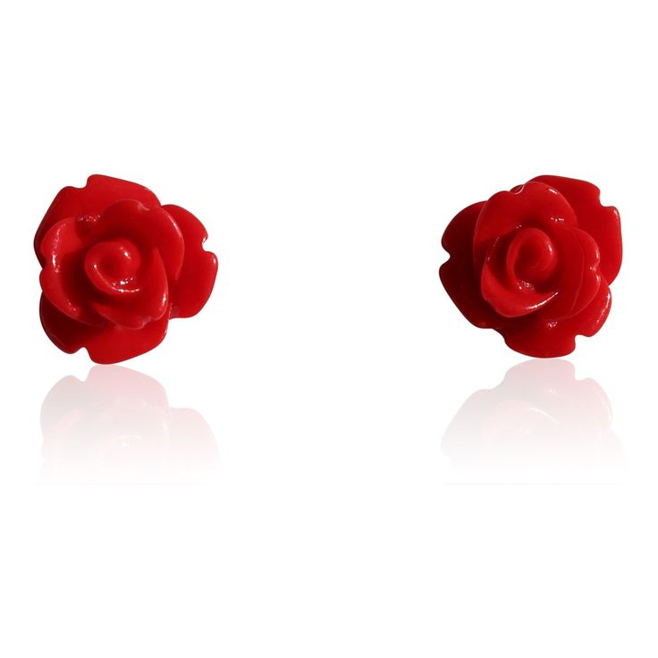 Glossy Red Resin Rose Stud Earrings