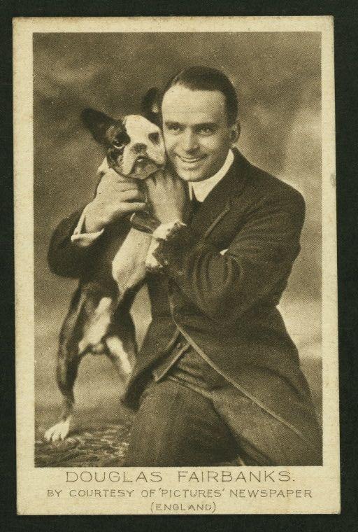 Douglas Fairbanks with Boston Terrier