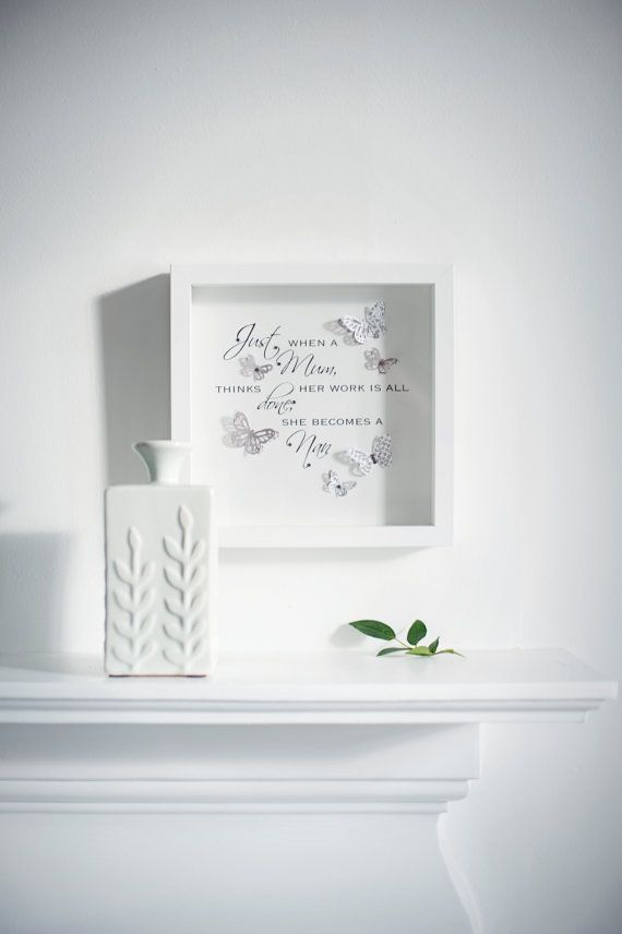 Beautiful handmade box frame picture with a quote & 3d butterflies and Swarovski crystals.