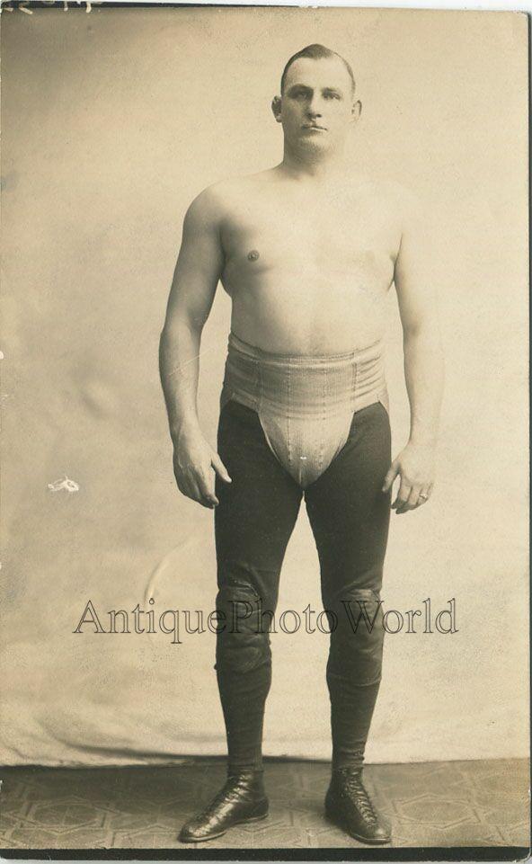 Handsome muscular topless man fighter wrestler antique 1922 photo