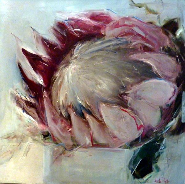 Proteas in a vase - 90x90cm - Nicole Pletts
