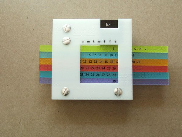 Custom designed perpetual desk calendar laser cut and hand assembled