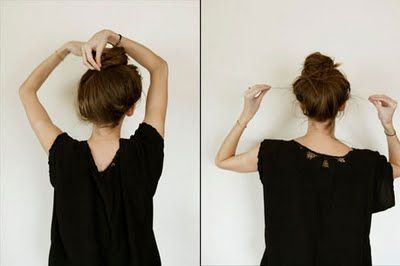 DIY Messy Bun:  1. Pull together hair and hold it straight up into the air like a troll doll  2. Twist Hair all the way down to crown  3. Wrap hair around in the shape of a bun  4. Pin bun in place  5. Pull loose strands around nape of neck and around face to finish the look