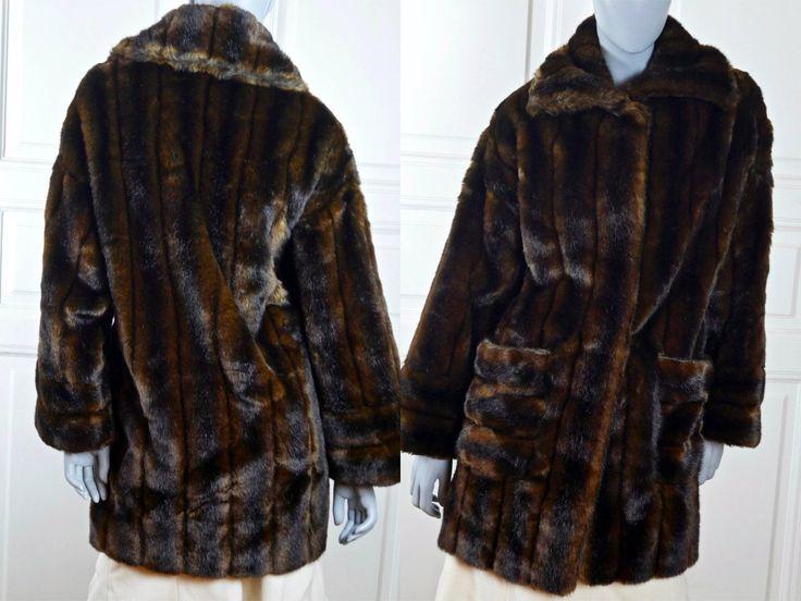Faux Fur Coat, Luxurious French Vintage Imitation Mink Fur Coat, Lifelike Brown Fake Fun Fur European Coat: Size 10/12 US, Size 14/16 UK by YouLookAmazing on Etsy