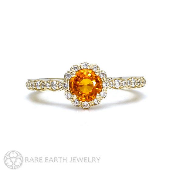 Orange Sapphire Ring Sapphire Engagement Ring 14K or by RareEarth