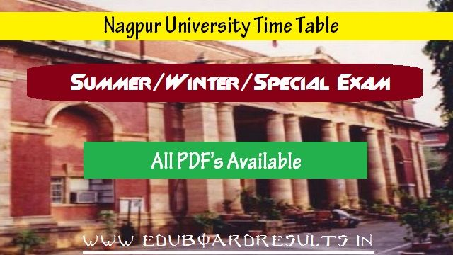 Nagpur University TImeTable 2017-2017 RTMNU Time Table 2018