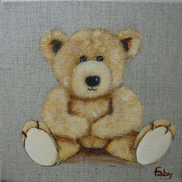 tableau peinture ourson sur toile en lin d coration chambre enfant toile et d coration. Black Bedroom Furniture Sets. Home Design Ideas