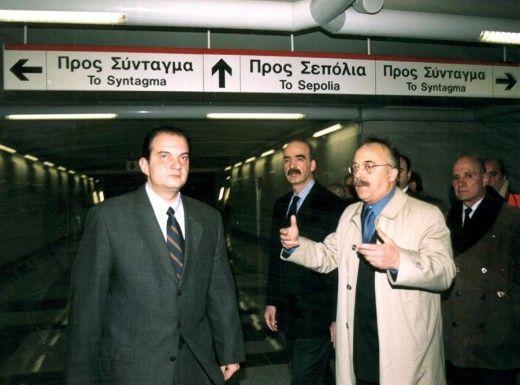Από την επίσκεψη του τότε Προέδρου της ΝΔ Κ.Καραμανλή στο μετρό της Αθήνας. Φωτο: ΑΠΕ/ΜΠΕ