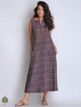 Indigo-Maroon Hand Block Printed Fadat Cotton Dress by Jaypore