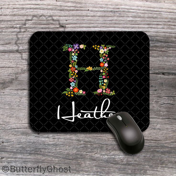 Monogrammed Floral initial, Personalized Mouse pad, customized computer mousepad with custom flower letter, unique monogram gift - 097 by ButterflyGhost on Etsy https://www.etsy.com/listing/190851004/monogrammed-floral-initial-personalized