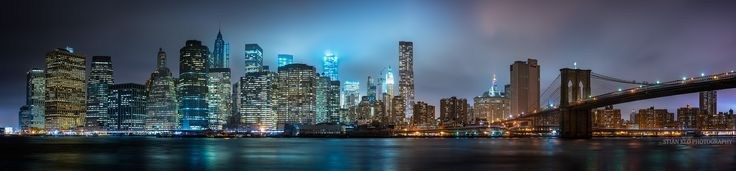 Presenting a huge panorama of the iconic lower Manhattan skyline, as seen from Brooklyn Bridge Park in New York City