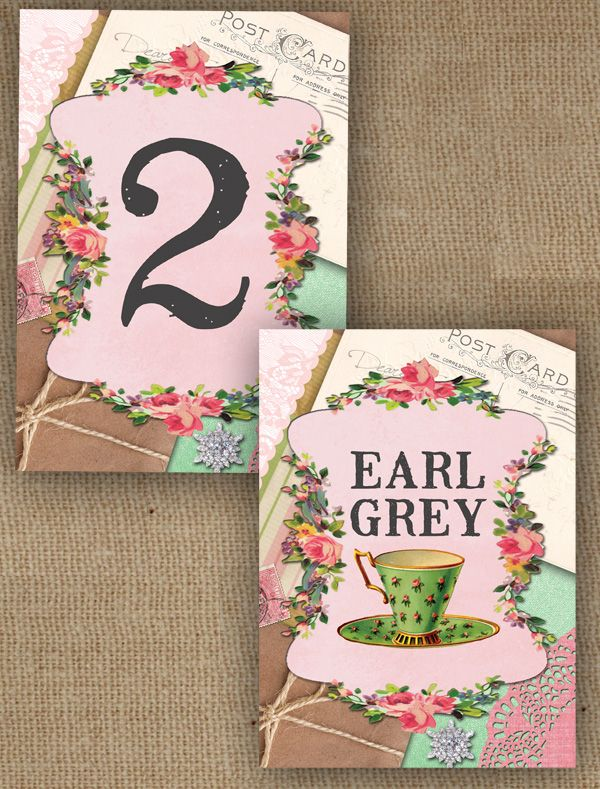 VINTAGE TRINKETS SHABBY CHIC TEA PARTY WEDDING RECEPTION TABLE NAME OR NUMBER