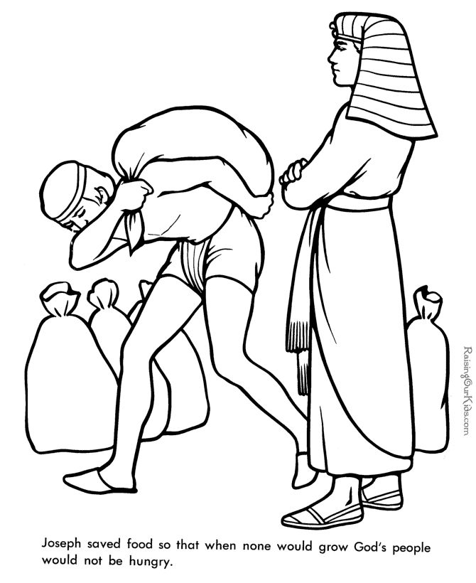 Free Printable Bible Coloring Book Joseph supervises the gathering and distribution of grain
