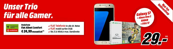 Schnäppchen Vertrag für alle Schnäppchenjäger mit dem Handy Bundle Samsung Galaxy S7 32GB + Microsoft Xbox One S 500GB - FIFA 17 Bundle mit Vodafone Flat Allnet Comfort mit 0,08 € rechnerische monatliche Grundgebühr