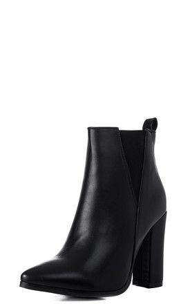 9c048dead88 RADIANT Pointed Toe Block Heel Chelsea Ankle Boots - Black Leather Style by  SpyLoveBuy