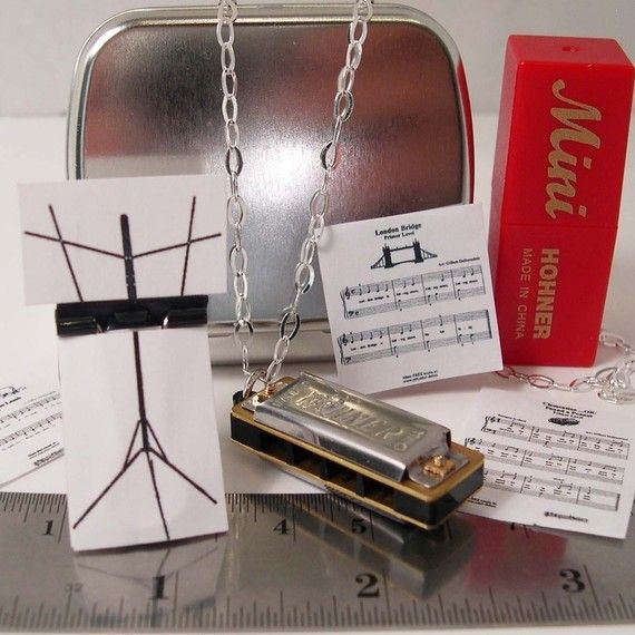 Mini Working Harmonica Necklace with Tiny Music Stand by YOUgNeek