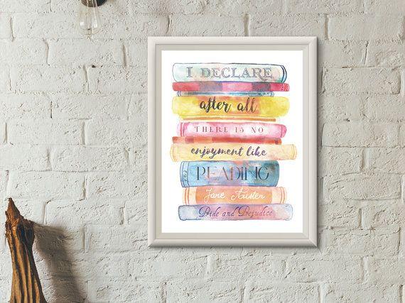 Jane Austen Literary Quote Art Print   A5 A4 8 x 6 12 x 8 Pride and Prejudice Literary Gifts, Bookworm home decor