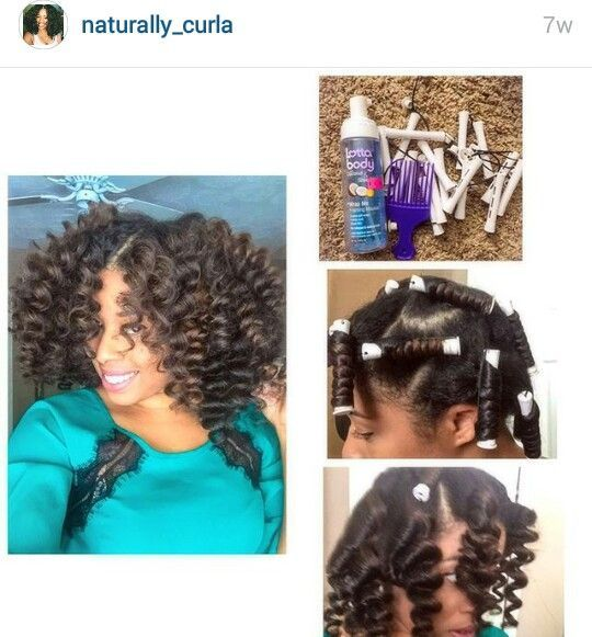 Blue Perm Rods On Natural Hair
