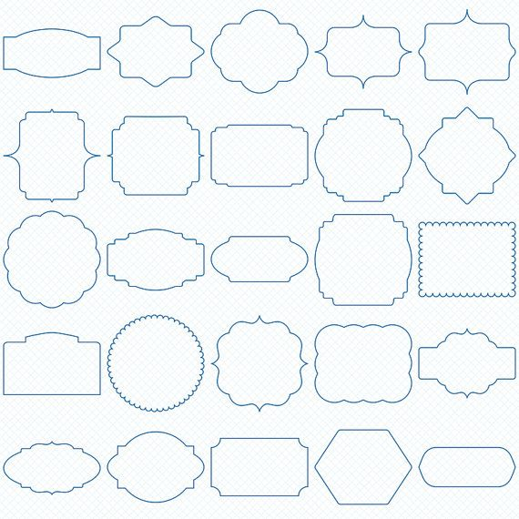 50 Blue Digital Frames, Classic Frames, Digital Clipart, Digital Download…