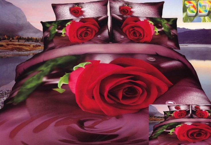 Super modna bordowa pościel z czerwoną różą