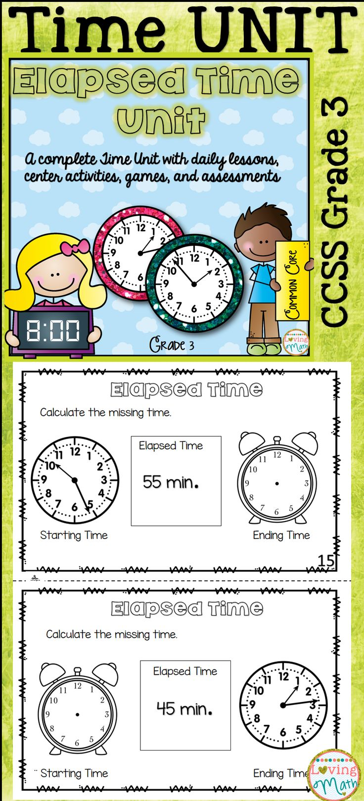 129 Best Images About Math Elapsed Time On Pinterest