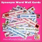 This Illustrated Synonym Word Wall set includes 60 word wall cards with pairs of synonyms and a large 'definition of a homophone' sentence strip, p...