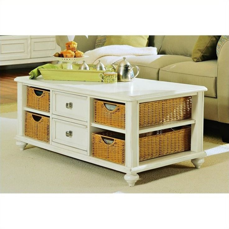 Lowest price online on all American Drew Camden Rectangular Coffee Table with Storage in Buttermilk - 920-910
