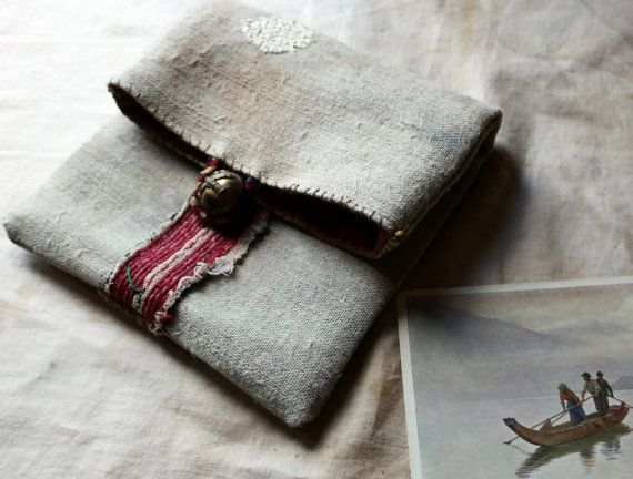 Starling, a Small Hand-Stitched Poet's Pouch in Hand Dyed Antique Linen and Appliqué, OOAK, Keepsake, Holder of Treasures, Objet d'Art