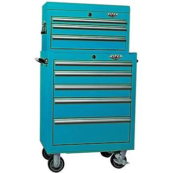 Viper Tool Storage Teal 26 Inch 8 Drawer 18G Heavy Duty Ball Bearing