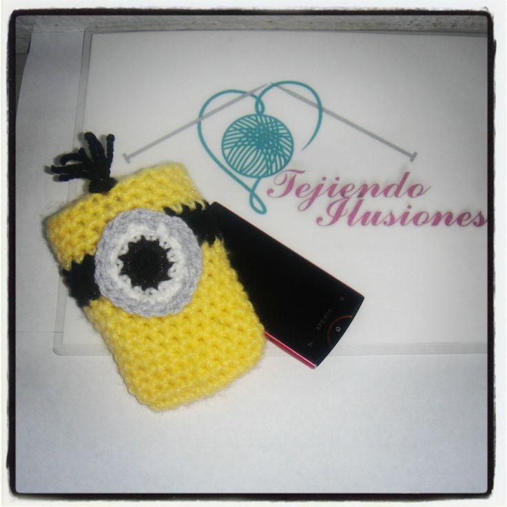 Modelo N° 2: Funda Minion, I love minions crochet