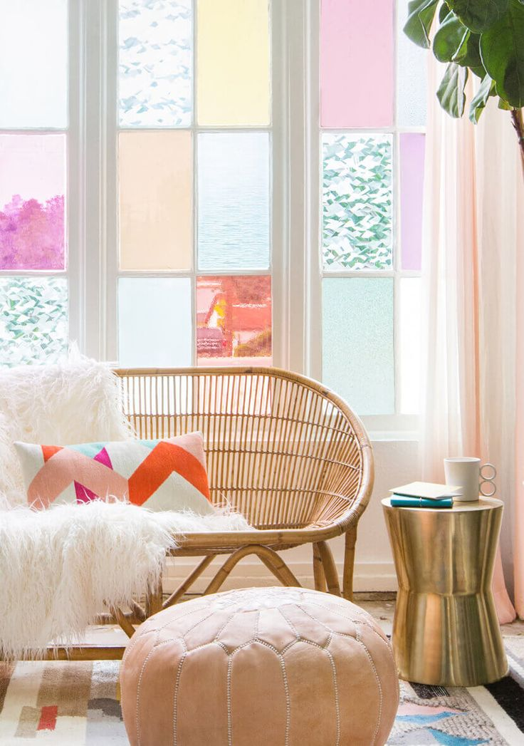 Gila DIY Window Film Happy Bright Pastel Emily Henderson Bamboo Seating Area 3