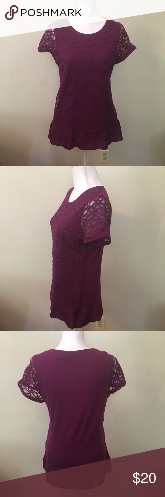 Purple Tee from Limited Cute purple T-shirt with lace detailing on front and sleeves (back and lining is 100% rayon). Size large but I'd say it runs small and fits more like a medium. New without tag The Limited Tops Tees - Short Sleeve