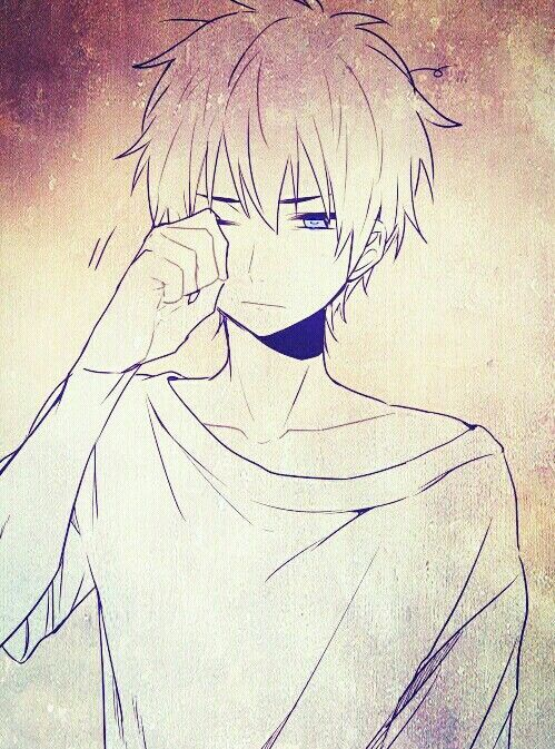 Anime boy, , manga boy, , anime drawing, , sleepy, , rubbing the eye, , cute