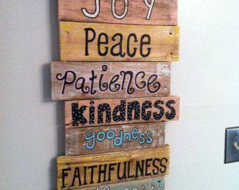 Décor de mur bois palette Art - Bible verset série - Fruit de l'esprit