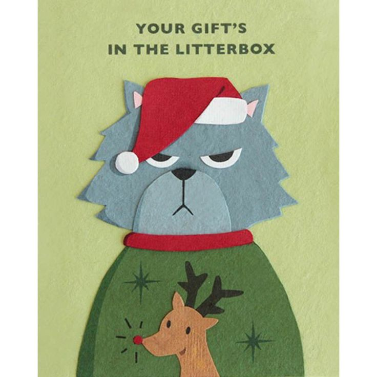 """Our """"Grumpy Kitty Christmas"""" card is lovingly handcrafted in the Philippines by women survivors of sex trafficking. The card incorporates a variety of handmade, recycled papers, making it environmenta"""
