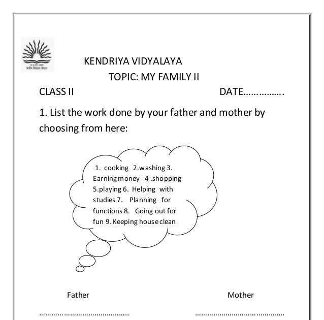 Evs Worksheets For Class 1 On My Family Worksheets For Class 1 Class Worksheets
