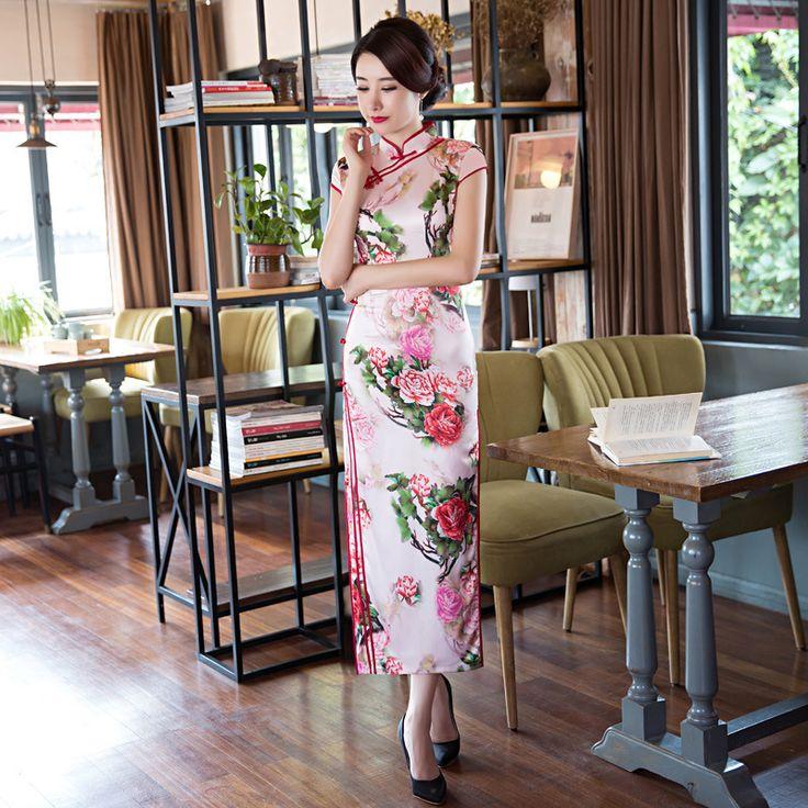 China Classical Printing Cheongsam Dress Long Qipao Silk Wedding Traditional Chinese Dresses Robe Chinoise Vestido Oriental