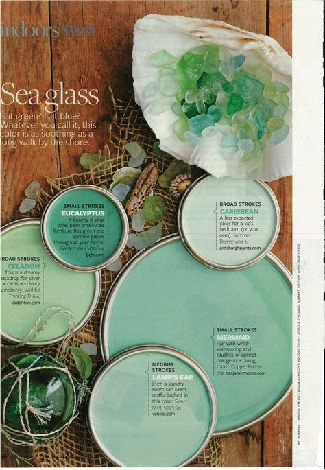 Sea glass inspired paint colors...with some sea glass decorations maybe.