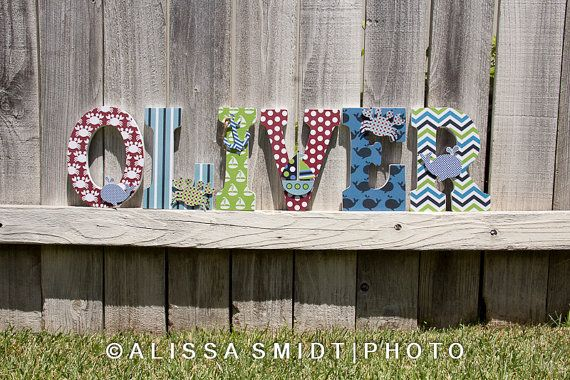 Custom Nursery Wooden Letters, Baby's Nursery - Nautical Theme Custom Letters, 9 Inch Size (whale, boat, crab, anchor) Cute Idea for baby room! :-)