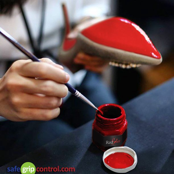 A special Enamel Acrylic paint is applied on Red Bottom Christian Loubiton restoring the original vibrant red. The sole repair solution can be used on the heel  sole of the shoe.