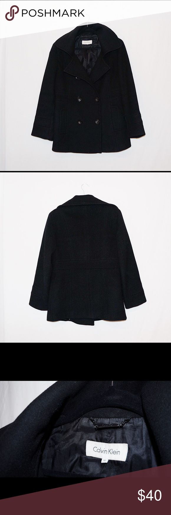 Calvin Klein 100% Wool Women's Peacoat Size 10 Beautiful 100% wool Calvin Klein peacoat, excellent like-new condition, no missing buttons or tears. Calvin Klein Jackets & Coats Pea Coats