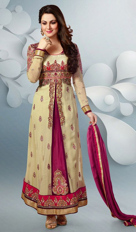 Cream and Magenta Embroidered Georgette Churidar Suit