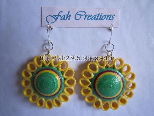 Paper Beads and Quilling Brooch Necklace & Studs (FAH01225) (4) - For buying contact - fah2305@yahoo.co.in