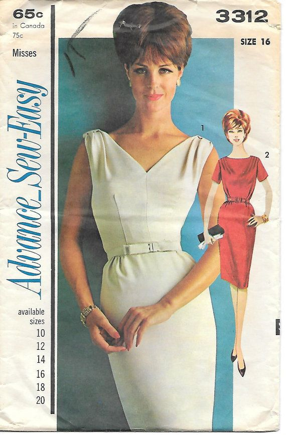 1960's Mad Men Wiggle Dress, Advance 3312 Sewing Pattern, offered on Etsy by GrandmaMadeWithLove