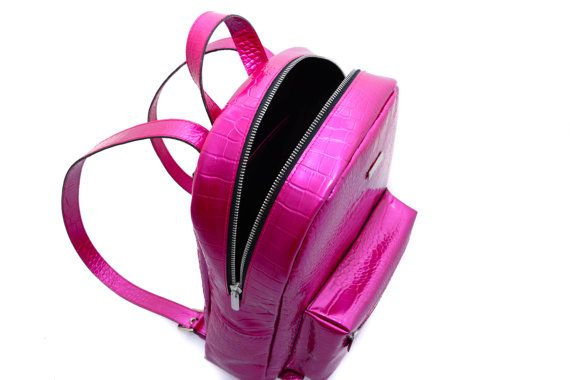 Leather Backpack Fuchsia croc pattern leather by MONAObags on Etsy
