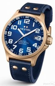 TW Steel 45mm Rose Gold Plated Stainless Steel Case with Blue Sunray Dial and Sapphire Crystal on a Blue Italian Leather Stitched Strap