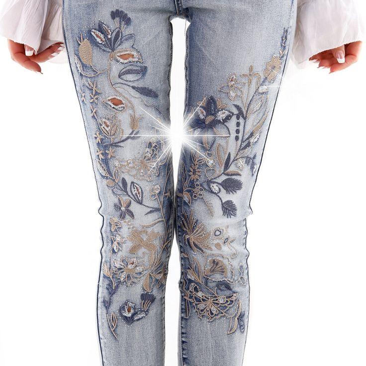 designer damen jeans stickerei flowers pushup pepit r hrenjeans s bekleidung. Black Bedroom Furniture Sets. Home Design Ideas